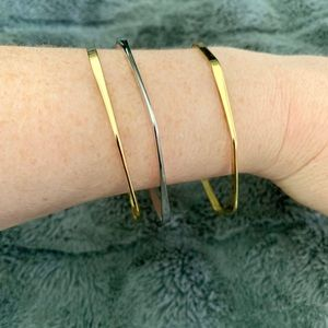 Jewelry - Mixed metal (silver and gold) geometric bangles
